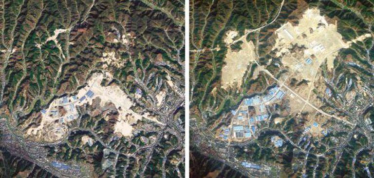 A cidade de Shiyan, antes (2010) e depois (2012) do aplanamento.