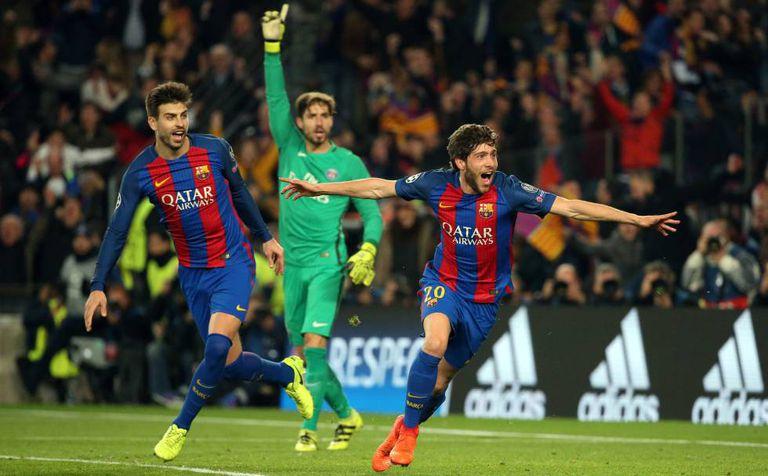 Sergi Roberto comemora o sexto gol contra o PSG.