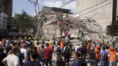Voluntários e socorristas procuram por sobreviventes.