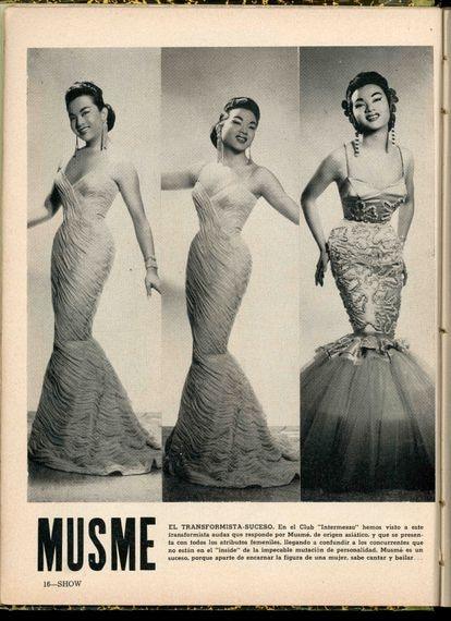 A transformista sino-cubana Musmé na revista 'Show', em janeiro de 1958.