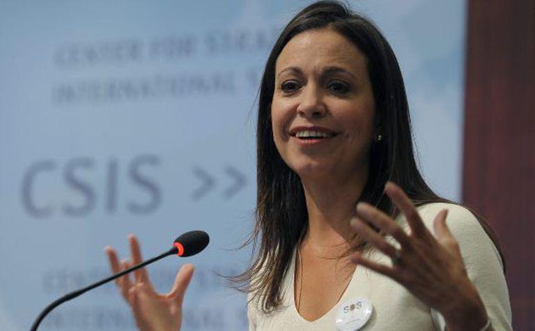 A deputada venezuelana María Corina Machado durante evento em Washington.