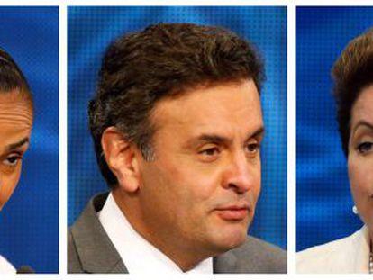 Marina Silva, Aécio Neves e Dilma Rousseff.