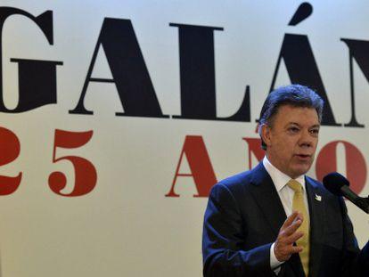 O presidente Santos em um discurso nesta quinta.