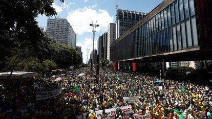 A manifestação na av. Paulista.
