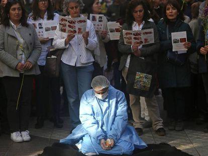 Manifestantes antiaborto em Santiago do Chile