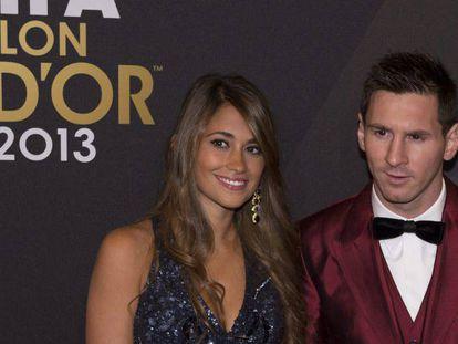 Antonella Roccuzzo e Lionel Messi na festa da Bola de Ouro de 2013.