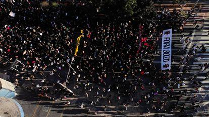 Vista da manifestação no largo da Batata, em São Paulo.