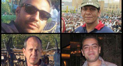 Os jornalistas presos Peter Greste, Mohamed Fahmy, Mohamed Fawzy e Baher Mohamed.