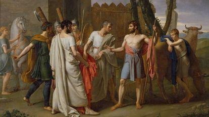 Cincinato abandona o arado para ditar leis a Roma, de Juan Antonio Ribera (1806)