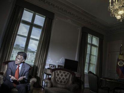 Juan Manuel Santos, na sede da Presidência da Colômbia durante uma entrevista em setembro.