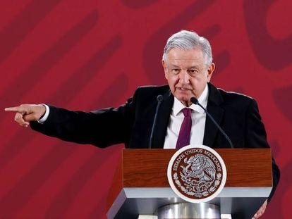 López Obrador durante uma de suas conferências matutinas.