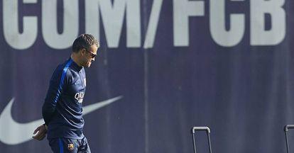 Luis Enrique, durante o último treinamento do Barcelona.