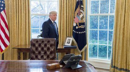 Donald Trump, no Salão Oval.
