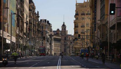 Gran Vía de Madri, nesta terça no Dia Mundial Sem Carro.