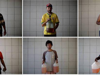 Moradores de Brasília posam com galões após finalmente conseguirem gasolina.