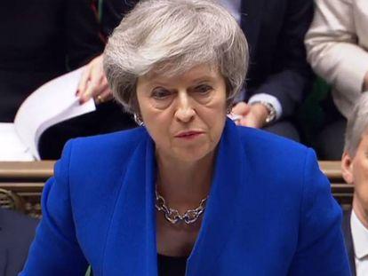Theresa May no Parlamento Britânico.