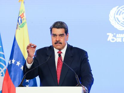 Nicolás Maduro em seu discurso virtual à Assembleia Geral das Nações Unidas, gravado em Caracas (Venezuela). Em vídeo, declarações do Presidente.