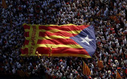 Manifestação independentista catalã, em Barcelona.