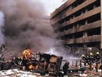 Nairobi (Kenya), 07/08/1998.- (FILE) - Firemen in action at the site of a huge bomb explosion that shook a bank building and US embassy in central Nairobi, Kenya, 07 August 1998 (reissued 14 November 2020). According to media reports citing intelligence officials, the second highest leader of the terror network al-Qaeda, who is said to be responsible for the bombings of the United States Embassies in Dar es Salaam, Tanzania, and Nairobi in 1998, was allegedly killed in Iran in August 2020. Abdullah Ahmed Abdullah, who was also known as Abu Mohamed Al-Masri, was shot by two men on a motorcycle in Tehran, a New York Times report claims. Iran denies the allegations. (Incendio, Kenia, Estados Unidos, Nueva York, Teherán) EFE/EPA/STR *** Local Caption *** 99425091
