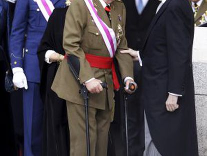 Os Reis, o Príncipe e o presidente Rajoy na Páscoa Militar de 2014.