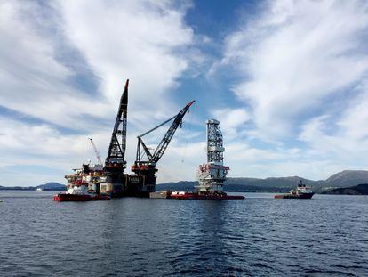 Vista de uma plataforma petroleira em Stord (oeste da Noruega).