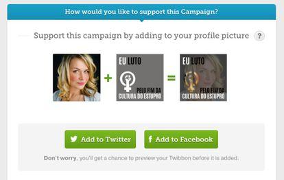 """Máscara da campanha """"Eu luto pelo fim da cultura do estupro"""" no Twibbon. Clique na imagem para ir para a campanha."""