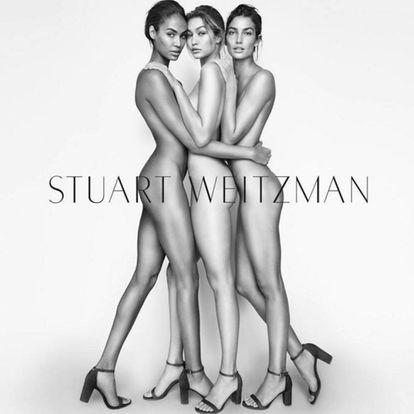 Gigi Hadid, Lily Aldridge e Joan Smalls em outra campanha da Stuart Weitzman.