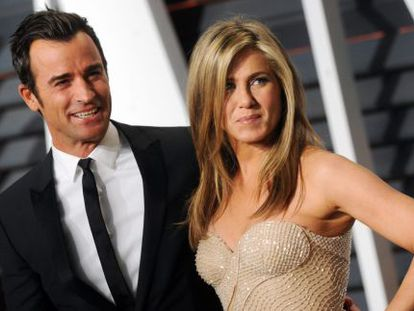 Justin Theroux e Jennifer Aniston na festa pós-Oscar da Vanity Fair.