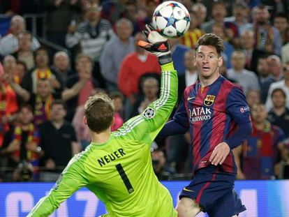 Gol de Messi na primeira partida entre os times.