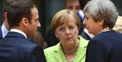Macron, Merkel e May