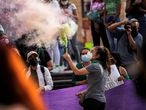 A woman takes part in a protest to celebrate the decision of the Supreme Court of Justice of the Nation (SCJN) that declared the criminalization of abortion as unconstitutional, in Saltillo, Mexico September 7, 2021. REUTERS/Daniel Becerril