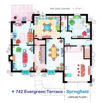 Andar térreo da casa da família Simpson, na planta criada por Iñaki Aliste Lizarralde. Ao fundo, à direita, a 'rumpus room', que só apareceu brevemente em dois ou três episódios e desafia os experts.