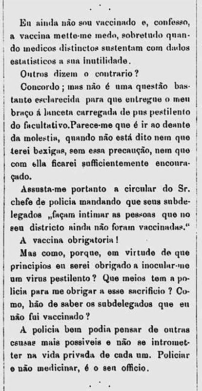 Artigo publicado na Revista Ilustrada em 1881 contra a vacinação obrigatória.