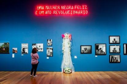Vista de uma das salas da exposição sobre Carolina Maria de Jesus no Instituto Moreira Salles de São Paulo.