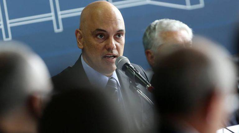 O ministro Alexandre de Moraes no encontro com os secretários.