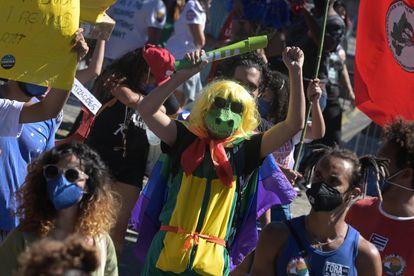 Protesto contra o presidente Bolsonaro no Rio de Janeiro, em 24 de julho.