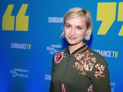 A diretora de fotografia Halyna Hutchins na festa de abertura do Sundance Film Festival de 2018 em Park City, Utah.