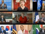 "TOPSHOT - This combination created of nine video grabs taken on May 18, 2020 from the website of the World Health Organization shows (top to bottom, LtoR) WHO Director-General Tedros Adhanom Ghebreyesus, Swiss President Simonetta Sommaruga, UN Secretary-General Antonio Guterres, Chinese President Xi Jinping, German Chancellor Angela Merkel, French President Emmanuel Macron, South Korean President Moon Jae-in, Barbados Prime Minister Mia Mottley and South African President Cyril Ramaphosa delivering their speech via video link at the opening of the World Health Assembly virtual meeting from the WHO headquarters in Geneva, amid the COVID-19 pandemic, caused by the novel coronavirus. - The World Health Organization on May 18 kicked off its first ever virtual assembly, but fears abound that US-China tensions could derail the strong action needed to address the COVID-19 crisis. (Photo by - / World Health Organization / AFP) / RESTRICTED TO EDITORIAL USE - MANDATORY CREDIT ""AFP PHOTO / WORLD HEALTH ORGANIZATION"" - NO MARKETING - NO ADVERTISING CAMPAIGNS - DISTRIBUTED AS A SERVICE TO CLIENTS"