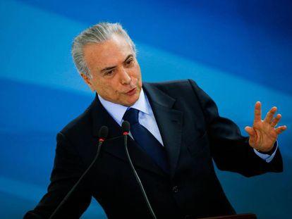 Michel Temer em evento no Palácio do Planalto.