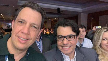 Marcos Bellizia e Otávio Fakhoury durante evento de conservadores CPAC Brasil em 2019
