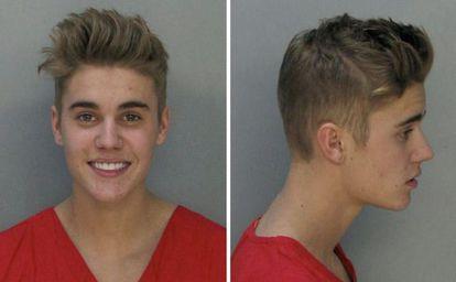 O célebre retrato policial de Justin Bieber.