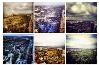 Seis das 25 fotos que Melania Trump publicou com vistas da Trump Tower, com imagens do Central Park. Foram publicadas entre 30 de outubro de 2012 e 13 de maio de 2015