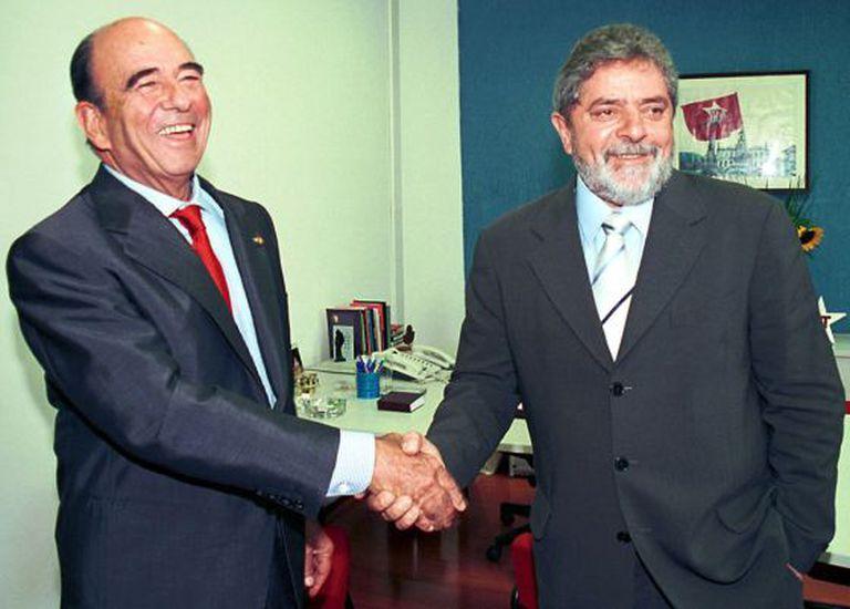 Emilio Botín e Luiz Inácio Lula da Silva em 2002.