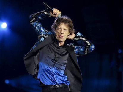 Mick Jagger durante um concerto dos Rolling Stones em fevereiro