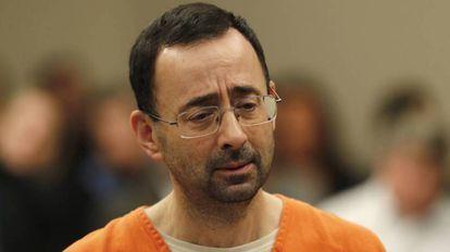 Larry Nassar, durante sua declaração de culpa diante do tribunal.