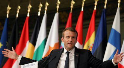 O presidente fracês, Emmanuel Macron, durante um discurso nesta terça-feira em Paris.