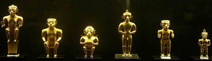 Seis das 122 peças do tesouro quimbaya