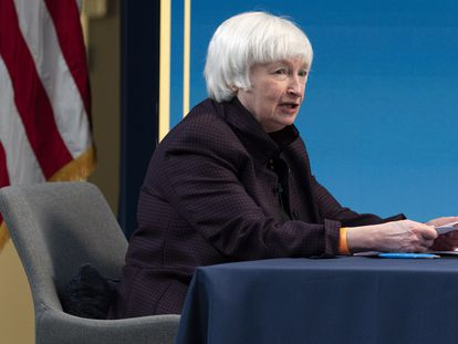A secretária do Tesouro dos EUA, Janet Yellen, em fevereiro.