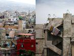 Vista general y detalle del barrio de Shatila, uno de los campos de refugiados palestinos más antiguos fuera de Palestina, carcaterizado por una arquitectira de hormigón de estilo brutalista árabe. |