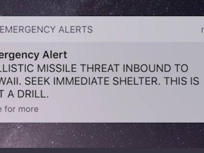 Captura de tela do alerta oficial que desencadeou o pânico no Havaí.